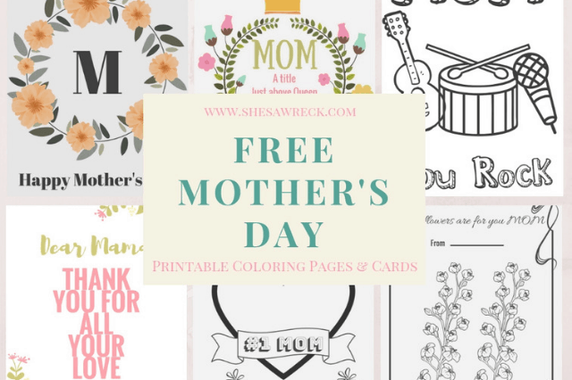 Mothers Day Cards Image| She's A Wreck Mothers Day Freebie