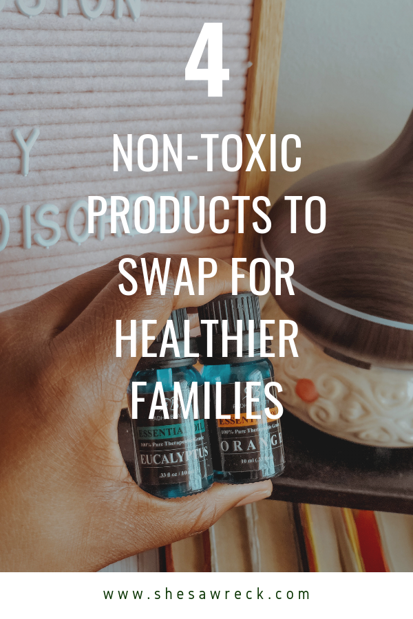 4 Product swaps for non toxic alternatives for familes #nontoxic #nontoxicliving #healthyliving #essentialoils #probiotics #naturaldeodorant #playpits #methodcleaner #meyerscleaner #healthyoptions